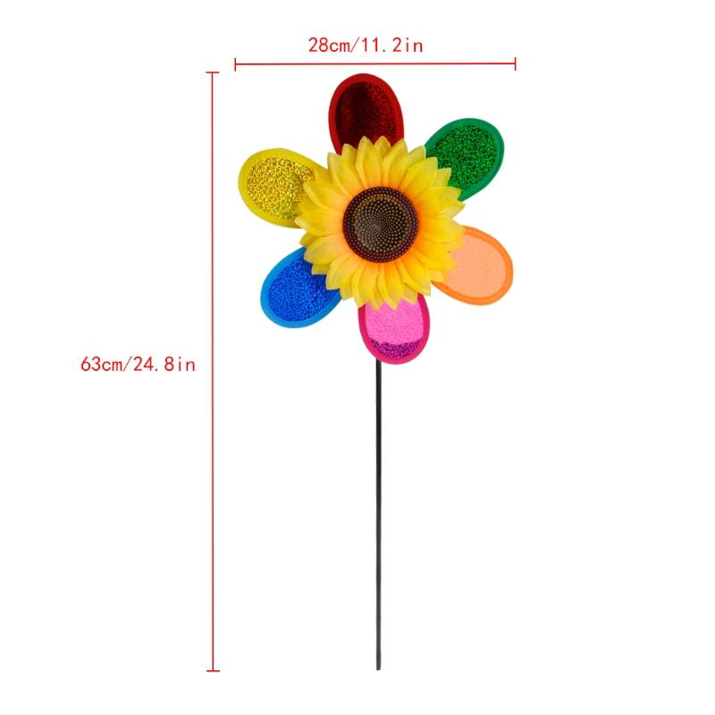 Colorful Sequins Sunflower Windmill Wind Spinner Home Garden Yard Decoration - Emporio Magno