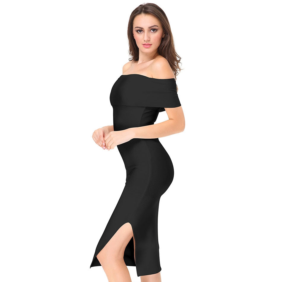 White Celebrity Runway Bandage Dress Women Black Red Sexy Off Shoulder Midi Bodycon Evening Party Dress Vestido - Emporio Magno