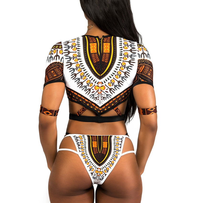 African Short Sleeve Swimsuit Dashiki Print Bikini Set Bikinis Women Thong Swimwear Female Plus Size Swimsuits Bathing Suit - Emporio Magno