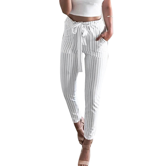 Women High Waist Pants Strechy Elastic Striped Women's Pants With Belt Spring Casual Bow Tie Slim Trousers Plus Size Harem Pants - Emporio Magno