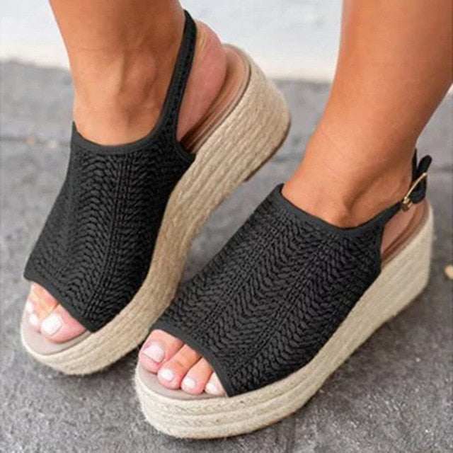 Women Hemp Sandals Sewing Female Beach Shoes Wedge Heels Peep Toe Platform Shoes Hasp Sandals - Emporio Magno