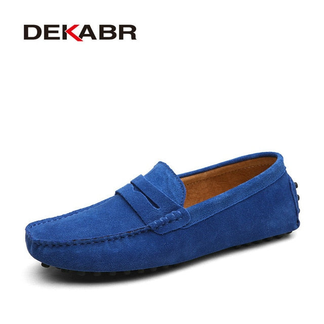 Moccasins Men Loafers High Quality Genuine Leather Shoes Men Flats Lightweight Driving Shoes - Emporio Magno