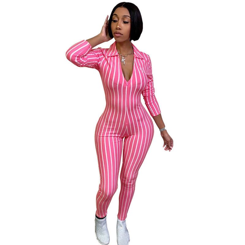 Women Striped Casual Jumpsuit with Sleeve Sexy Deep V neck Turn down Collar Skinny Bodycon Romper and Overalls Combinaison Femme - Emporio Magno