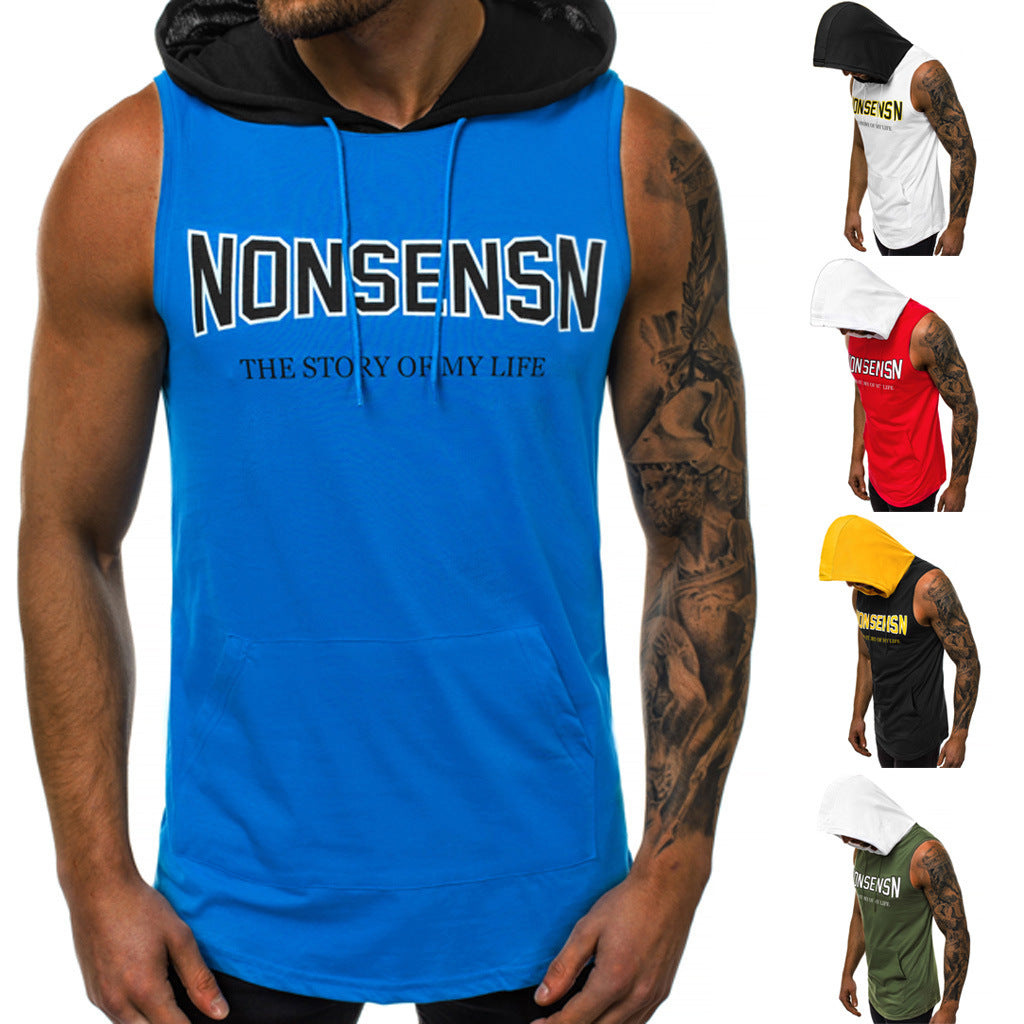 Summer Men Fitness Hoodies Tank Tops Sleeveless Bodybuilding Tee Shirt Fashion Stringer Male Workout Hooded Vest Sportswear - Emporio Magno