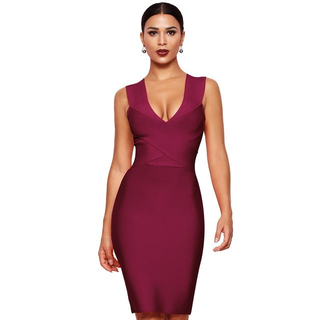 Dress Club Wear Party Dress Sleeveless Orange Wine Red Women Bandage Dresses - Emporio Magno