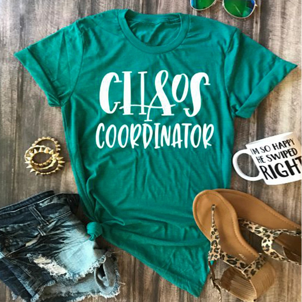Women T Shirt Short Sleeve Summer 2018 Casual Chaos Coordinator O Neck T Shirt - Emporio Magno