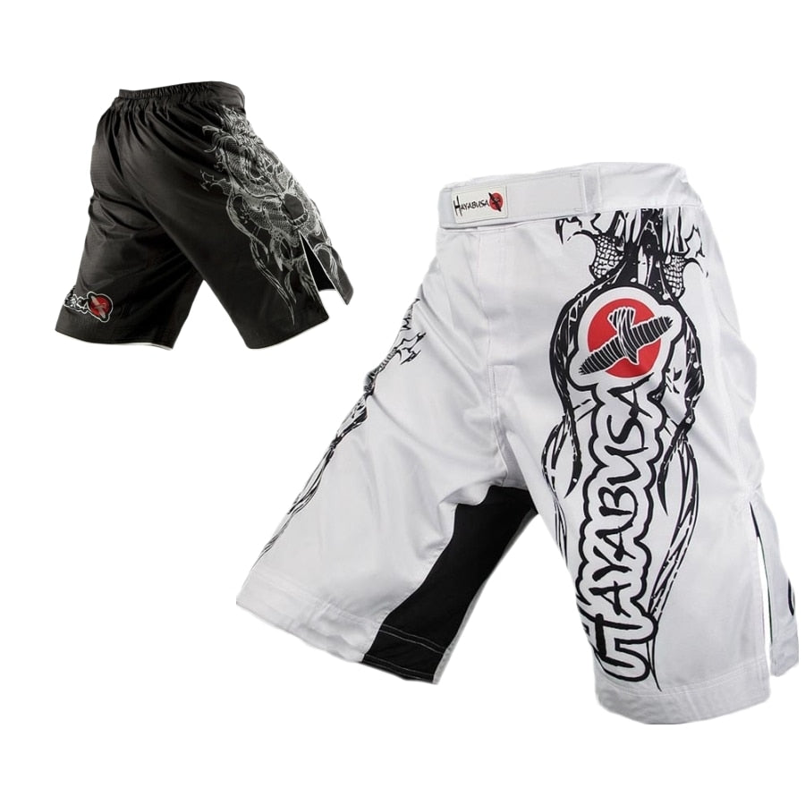 MMA  White dragon Eagle subtitles sports breathable cotton loose boxing training pants mma short kickboxing shorts short muay thai - Emporio Magno