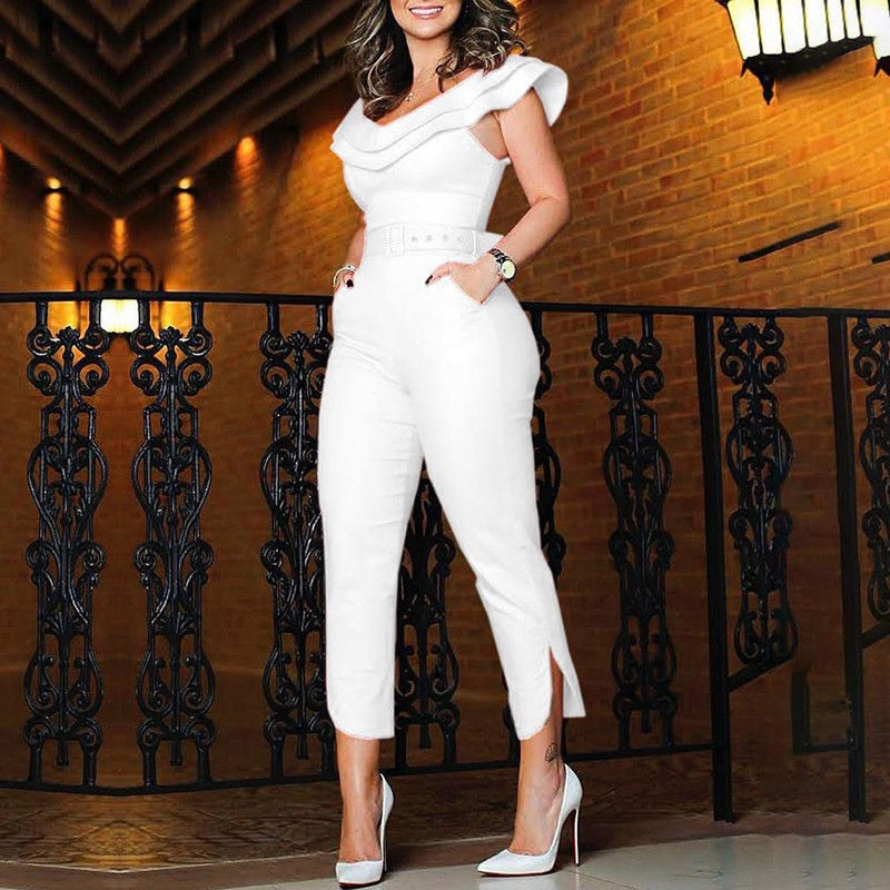 Women Ruffles Neck High Waist Clubwear Jumpsuit Playsuit Bandage Female Party Romper Long Trousers Clothes - Emporio Magno