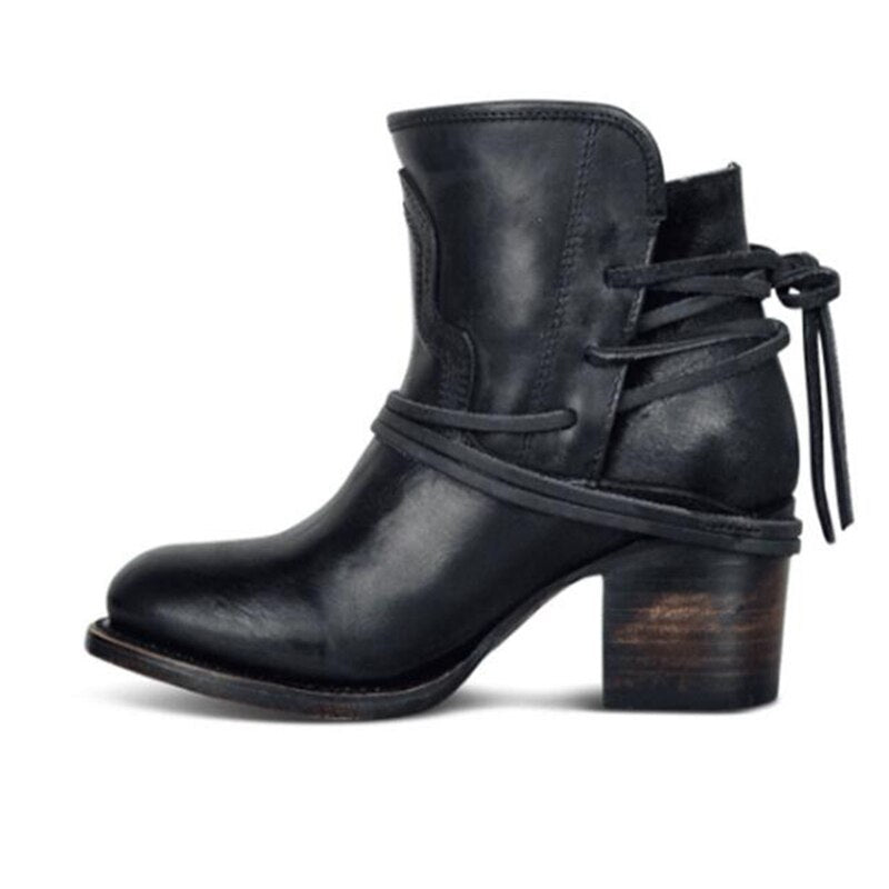 Ankle Boots Plus Size Women Retro High Heels Block Heel Shoes For Female Flock Buckle Strap Short boots woman shoes - Emporio Magno