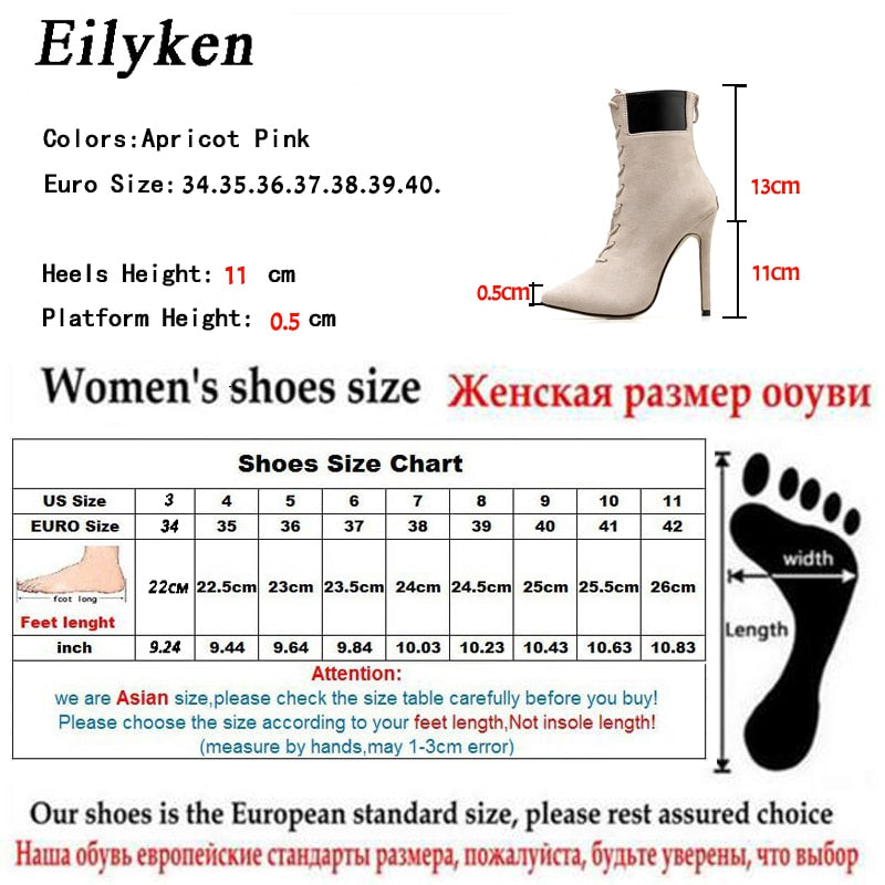 Women Boots High Heels Pointed Toe Cross Tied Boots Woman Shoes Autumn Fashion Princess Bootas Big size 42 - Emporio Magno