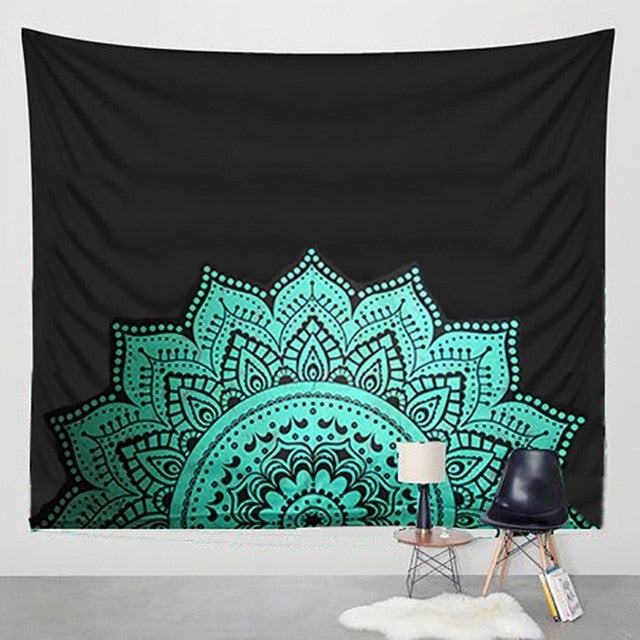 150*200cm  Mandala Tapestry Wall Hanging Witchcraft Hippie Beach Throw Rug Moon Travel Boho Bohemian Home Art Psychedelic Tapestries Decor - Emporio Magno