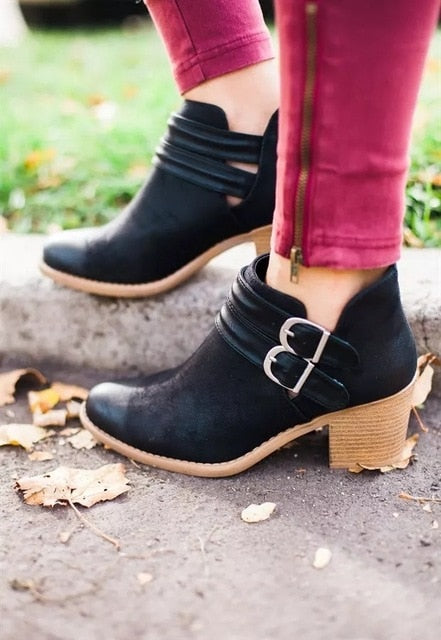 Vintage Boots Women Buckle PU Shoes Women Short Boots Square Heels Fashion Pointed Toe Ankle All Match Breathable - Emporio Magno