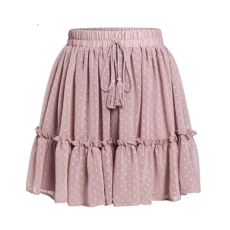 Casual polka dot mini women skirt High waist A line korean tassel pink summer skirt Sexy ruffle beach female skirts - Emporio Magno