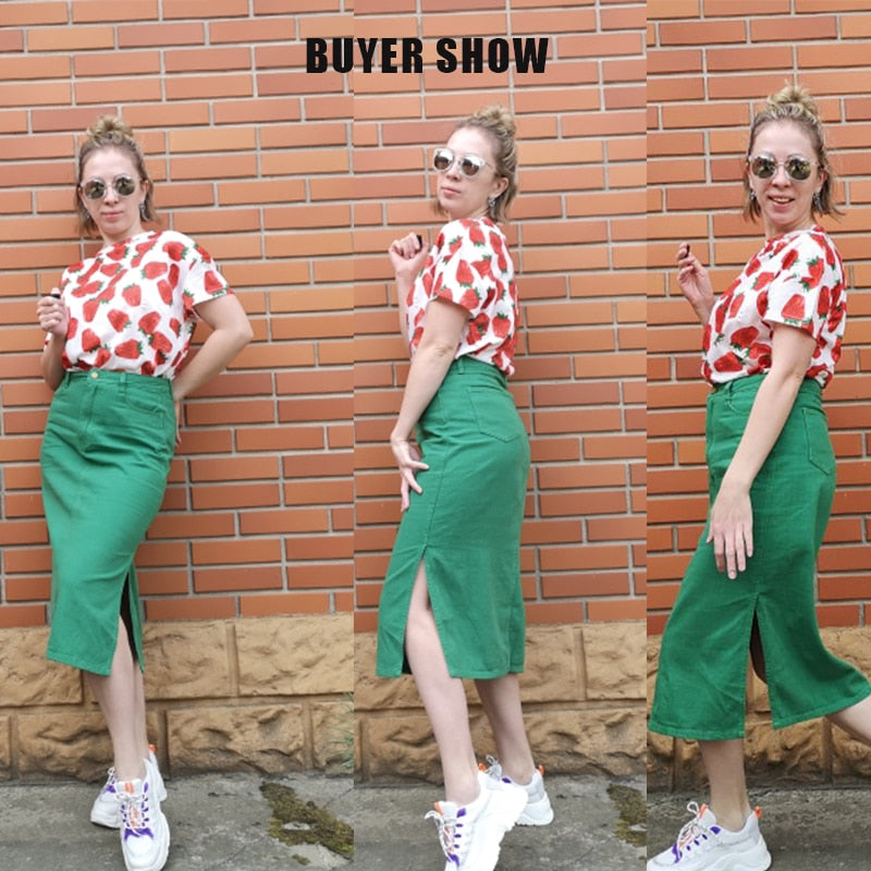 Sams Tree Women Denim Skirts Summer Office Lady Long Skirt Pencil Mid Calf Femme High Waist Bottoms - Emporio Magno