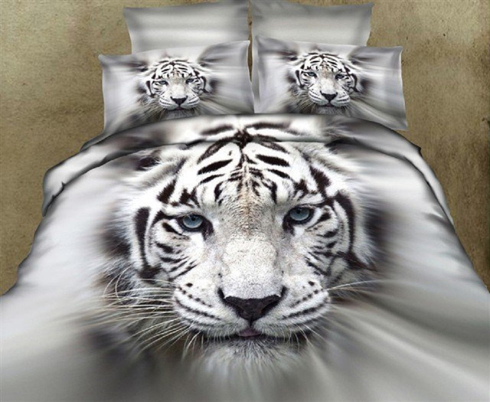 3D white tiger animal twin king full double bedclothes pillowcase duvet cover set bedding set - Emporio Magno