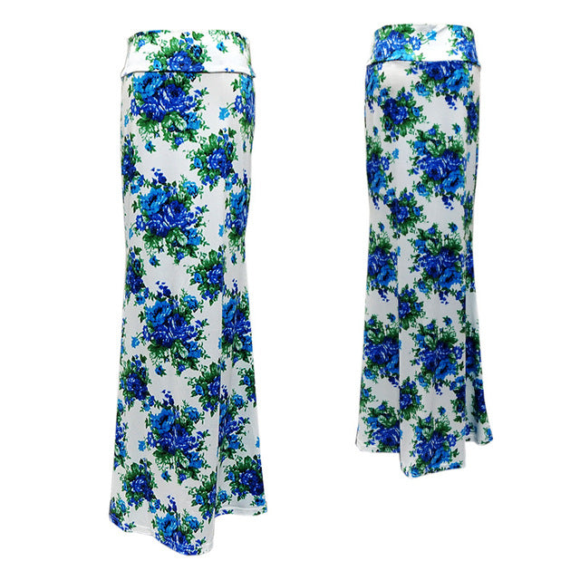 Women Plus Size Floor-length Maxi Skirt Stretch Floral Pencil Tube Bodycon Beach Skirts - Emporio Magno