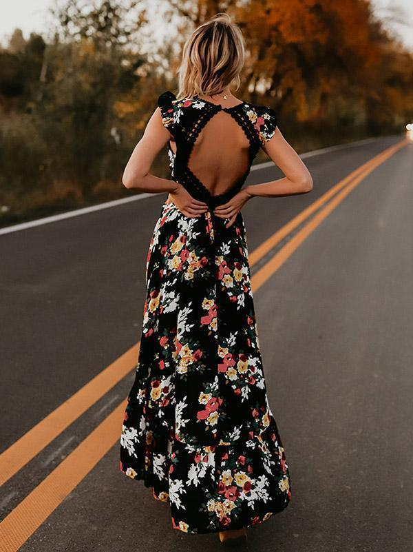 V neck backless summer dress  bohemian maxi dress Hollow out irregular long dress - Emporio Magno