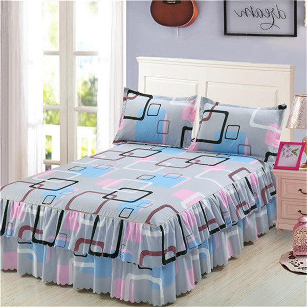 Classic Double Layer Skirt Bedding Set Flower Printing Bed Shirts Bed Linen 3pcs/set Pastoral Bed Sheet Home textile Pillowcase - Emporio Magno