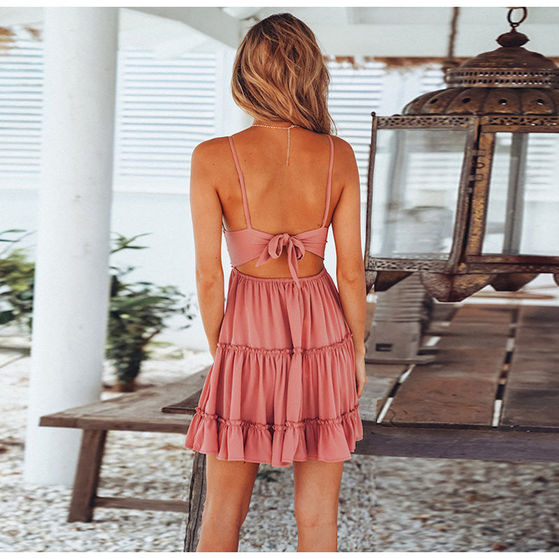Summer Ladies Bohemian Beach  Spaghetti Strap Deep V-neck Dress Casual Sleeveless Backless Bow Lace Patchwork Dresses - Emporio Magno