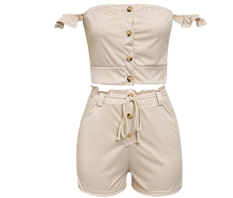 Off shoulder tube playsuit summer jumpsuit Khaki elastic romper overalls for women jumpsuit short Ruffle jump suit - Emporio Magno