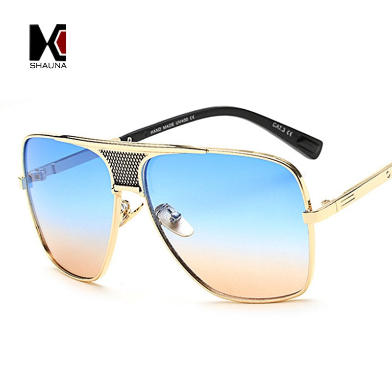 SHAUNA Vintage Men Square Sunglasses Women Brand Designer Fashion Women Golden Alloy Frame Sun Glasses UV400 - Emporio Magno