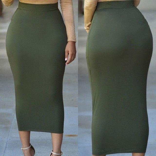 Women Ladies  Skirt Bandge Bodycon High Waist Pencil Bodycon Maxi Skirt Long Skirts - Emporio Magno