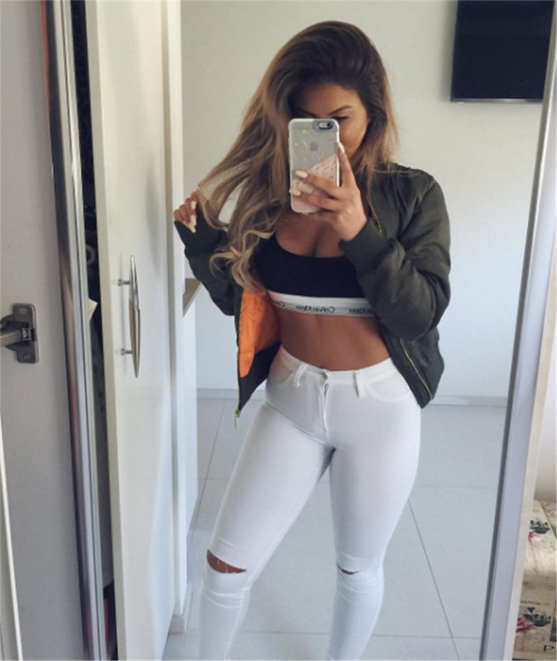 High Waist Skinny Fashion Boyfriend Jeans for Women Hole Vintage Girls Slim Ripped Denim Pencil Pants - Emporio Magno