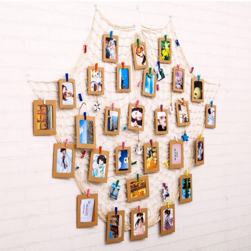 DIY Hanging Picture Photo Frame Display with Clip and Fishing Net Rope Wall Decor Props Wall Decor Photo Frame Set - Emporio Magno
