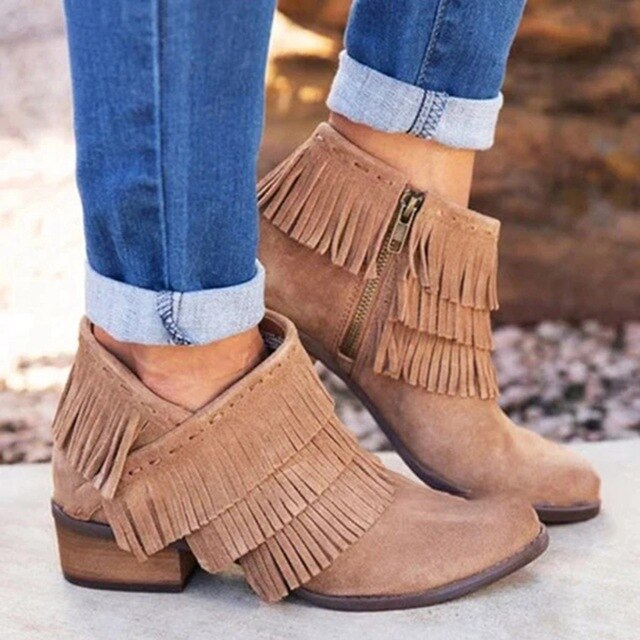 Puimentiua Autumn Women Shorts Boots Pointed Toe Thick High Heel Shoes Side Zipper Tassel Ankle Booties Party Shoes Dress - Emporio Magno
