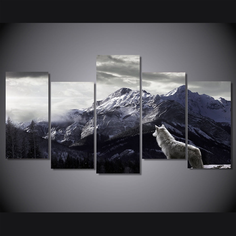 HD Prints Canvas Wall Art Living Room Home Decor Pictures 5 Pieces Snow Mountain Plateau Wolf Paintings Animal Posters Framework - Emporio Magno