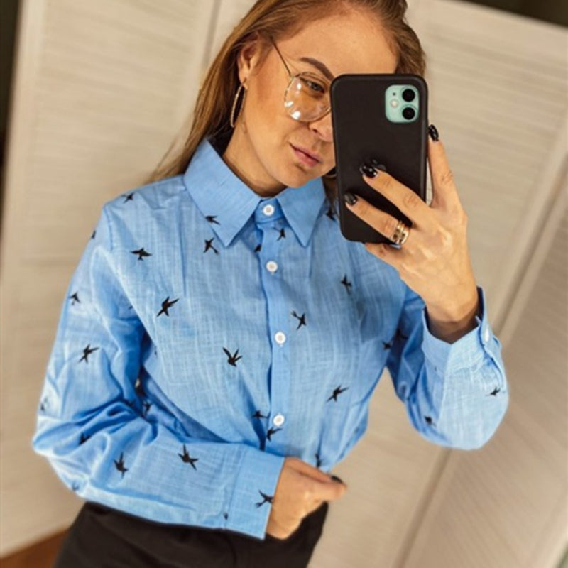 Women's Birds Print Shirts 35% Cotton Long Sleeve Female Tops 2020 Spring Summer Loose Casual Office Ladies Shirt Plus Size 5XL - Emporio Magno