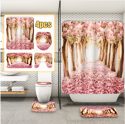 Arrivals Europe Pink Sakura Tree Pattern Bathroom Four-piece Suit,Shower Curtain Bathroom Pedestal Rug Lid Toilet Cover Bath Mat Set - Emporio Magno