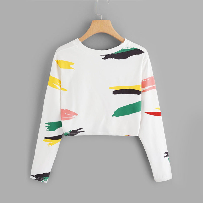 White Twist Front Printed Crop Tee Ladies Casual 2019 Long Sleeve Tops Round Neck Clothing Autumn New Style T Shirt - Emporio Magno