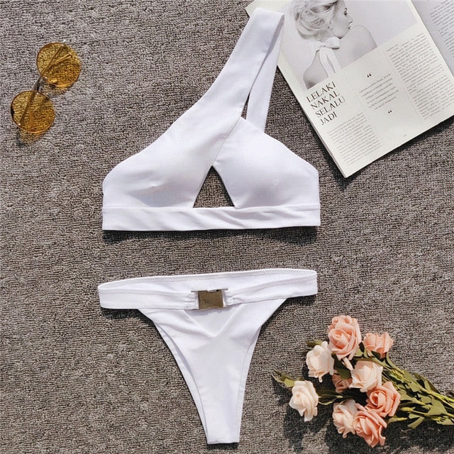 One Shoulder Bikini Buckle High Cut Swimsuit Sexy Thong Bikini Hollow Out Bathing Suit White Push Up Swimwear Women - Emporio Magno