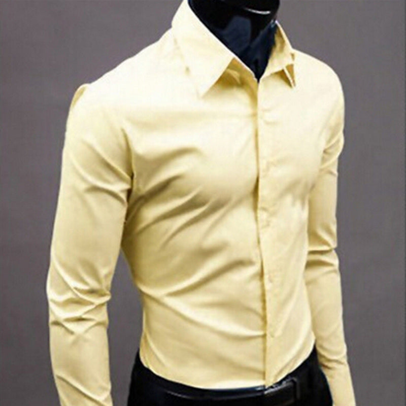 Men Shirt Long Sleeve Fashion Mens Casual Shirts Cotton Solid Color Business Slim Fit Social Camisas Masculina - Emporio Magno