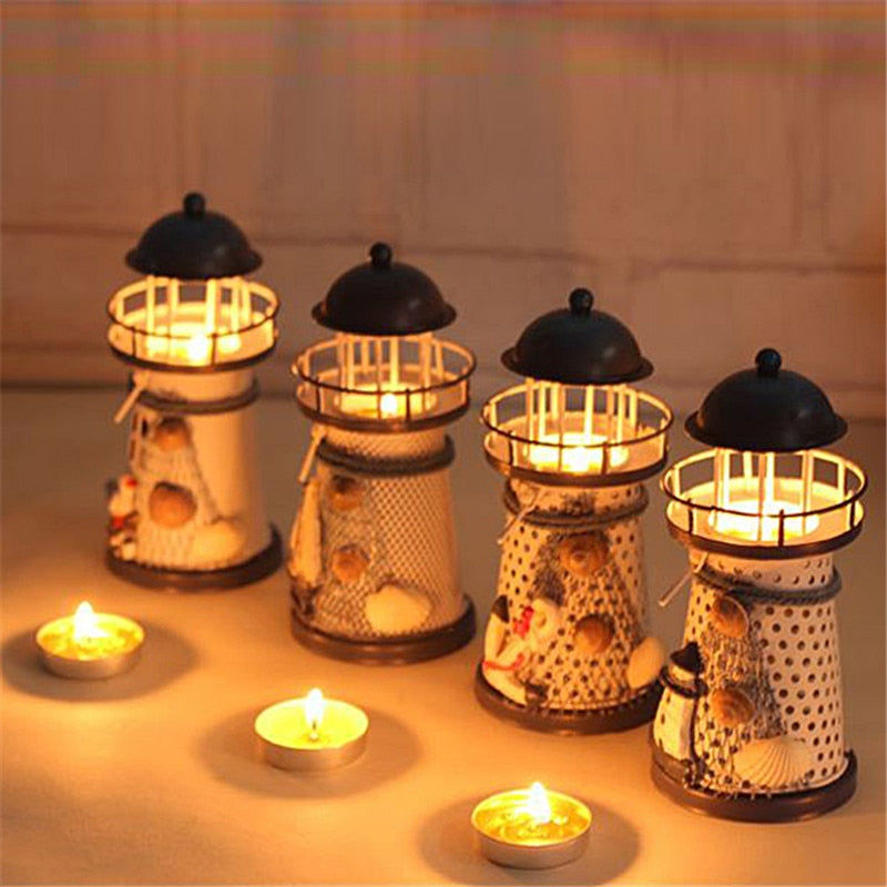 Lighthouse Candle Holder Mediterranean-style Iron Candle Holder Holiday Candlestick Home Wedding Party Family Decor - Emporio Magno