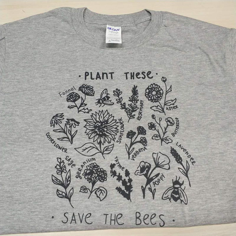 Plant These Harajuku Tshirt Women Causal Save The Bees T-shirt Cotton Wildflower Graphic Tees Woman Unisex Clothes - Emporio Magno