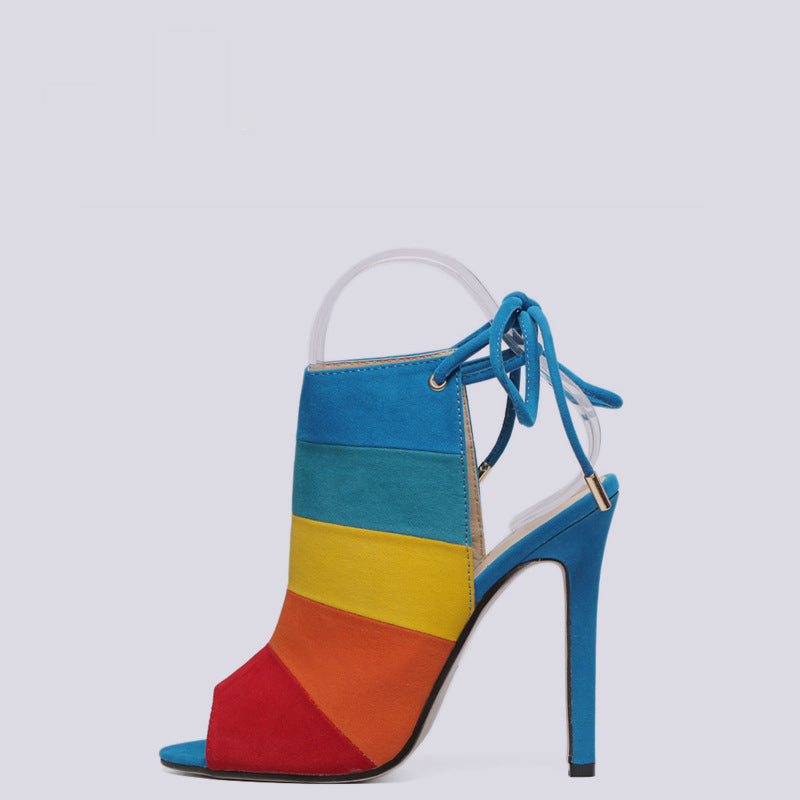Koovan Women's Shoes Pumps Heeled Shoes High-heeled Rainbow Color Mixed with Fish Mouth Sandals Colors Pumps Size 40 - Emporio Magno