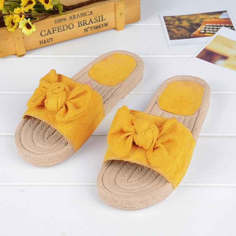 Summer Beach Bow Summer Sandals Slipper Indoor Outdoor Linen Flip flops Shoes Female Fashion Floral Shoes - Emporio Magno