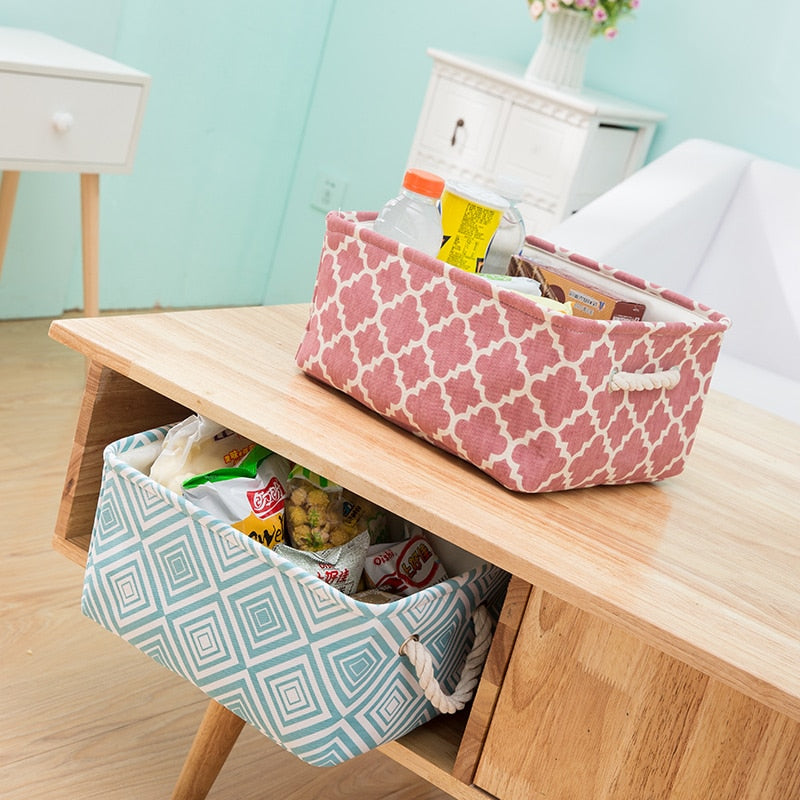 Cube Canvas Fabric Storage Basket Clothes Folding Storage Box For Nursery Underwear Toy Organizer Laundry Basket With Handle - Emporio Magno