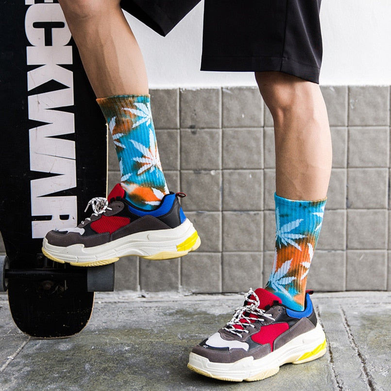 Personality Printing White Maple Leaves Colorful Cotton Socks Hip Hop Street Skater  Socks - Emporio Magno