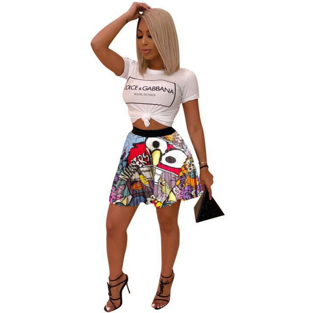 Cartoon Pattern Harajuku Pleated Skirts Women Fashion High Waist Plus Size Short Skirt Streetwear Female Club Party Mini Skirt - Emporio Magno