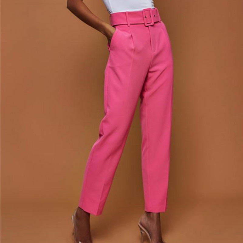 Casual Pants High Waist Autumn Belted Straight Leg Slacks Office Lady Suit Pants Women Trousers - Emporio Magno