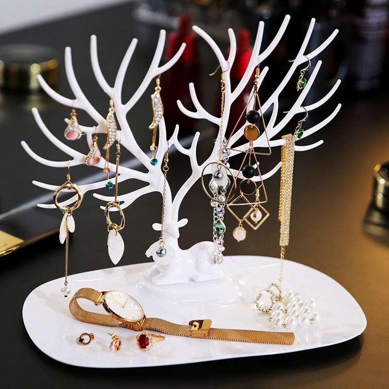 ANFEI Little Deer Earrings Necklace Ring Pendant Bracelet Jewelry Display Stand Tray Tree Storage Racks Organizer Holder H39 - Emporio Magno