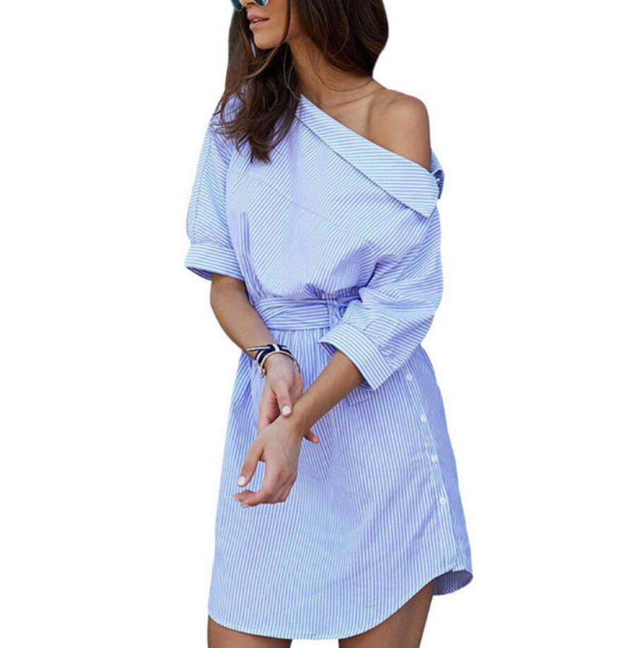 Women Dress Blue Striped Shirt Short Dress  Half Sleeve Beach Dresses - Emporio Magno