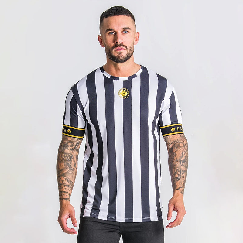 Casual Men T-shirt Stripe Summer Man Tshirt Fashion Tops Streetwear Male T-shirts Hip Hop - Emporio Magno