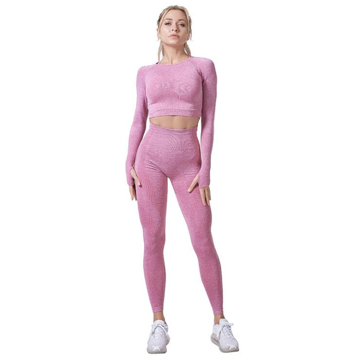 Women Vital Seamless Yoga Set Gym Clothing Fitness Leggings+Cropped Shirts Sport Suit - Emporio Magno