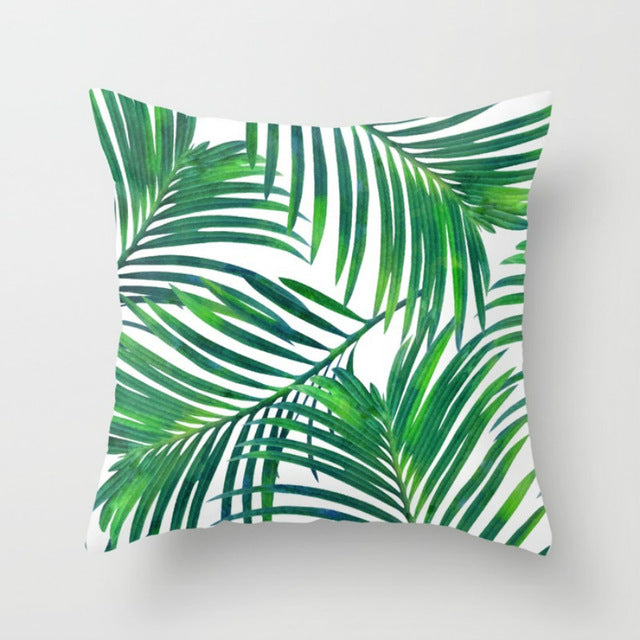 Elife Retro Green Leaves Cactus Linen cotton cushion case Polyester Home Decor Bedroom Decorative Sofa Car Throw Pillows - Emporio Magno