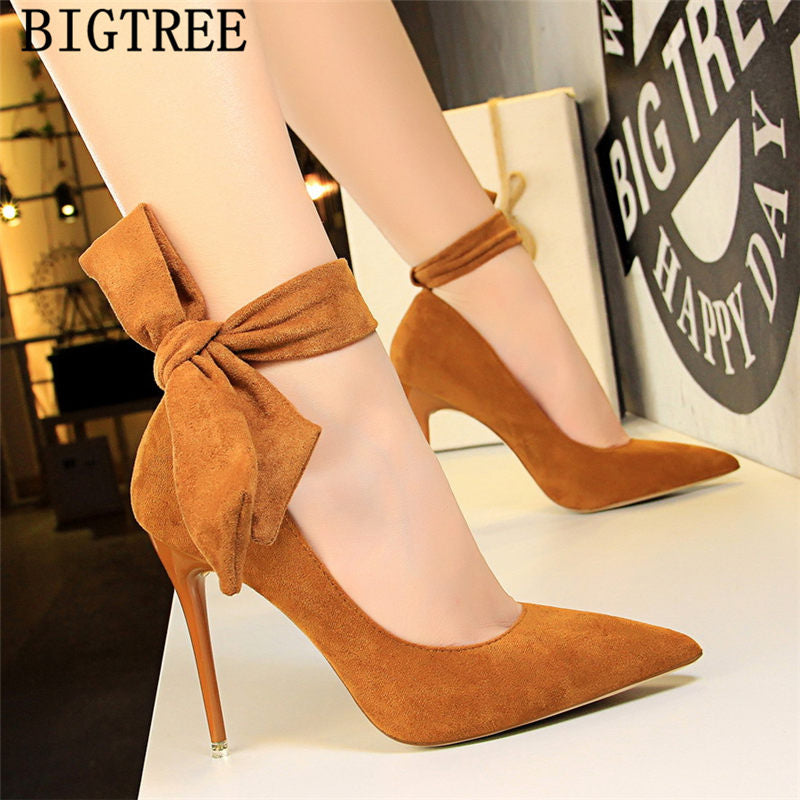 dress shoes women stiletto moccasin bigtree shoes Butterfly knot new arrival 2019 green shoes for women luxury high heels buty - Emporio Magno