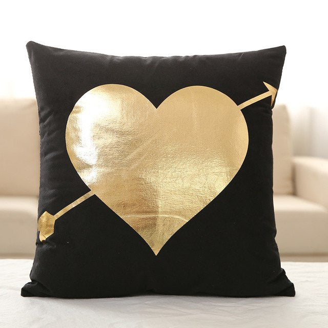 Gold Foil Pillow Cover Soft Velvet Black White Cushion Cover Deer Heart Lips Love Leaves Home Decorative PillowCase 45x45cm - Emporio Magno